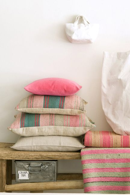 "Pink accents - BBC Boracay says: "" We love mixed colors, shapes ,pattern pillows for our home design. They bring a rainbow of happiness to the new house.."""