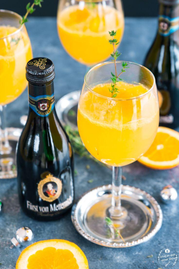 Orangen-Thymian-Spritz mit Rieslingsekt