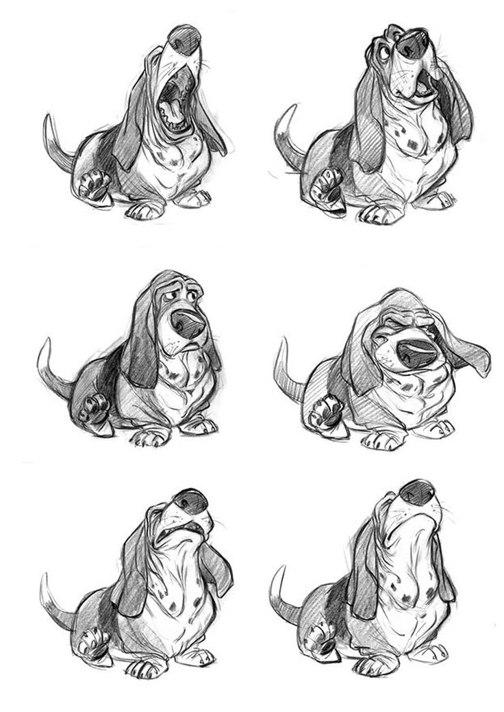 Concept sketches of Toby from The Great Mouse Detective