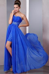 Beaded Strapless Floor-length Ruched Chiffon Designer Prom Dress with High Slit