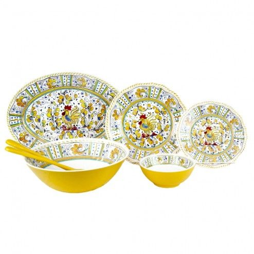 Le Cadeaux Melamine 16 Piece Dinnerware Set - Rooster Yellow .lamaisonware.com  sc 1 st  Pinterest & 31 best \u2022 Unbreakable Dinnerware Sets \u2022 images on Pinterest ...