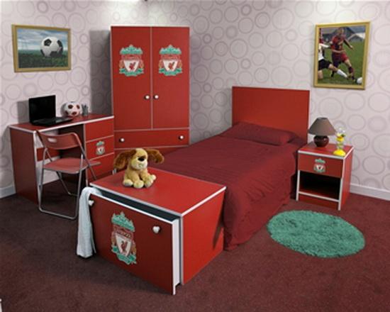 exciting football theme bedroom lfc room idea   Liverpool Bedroom Accessories Design   Babies, I want 'em ...