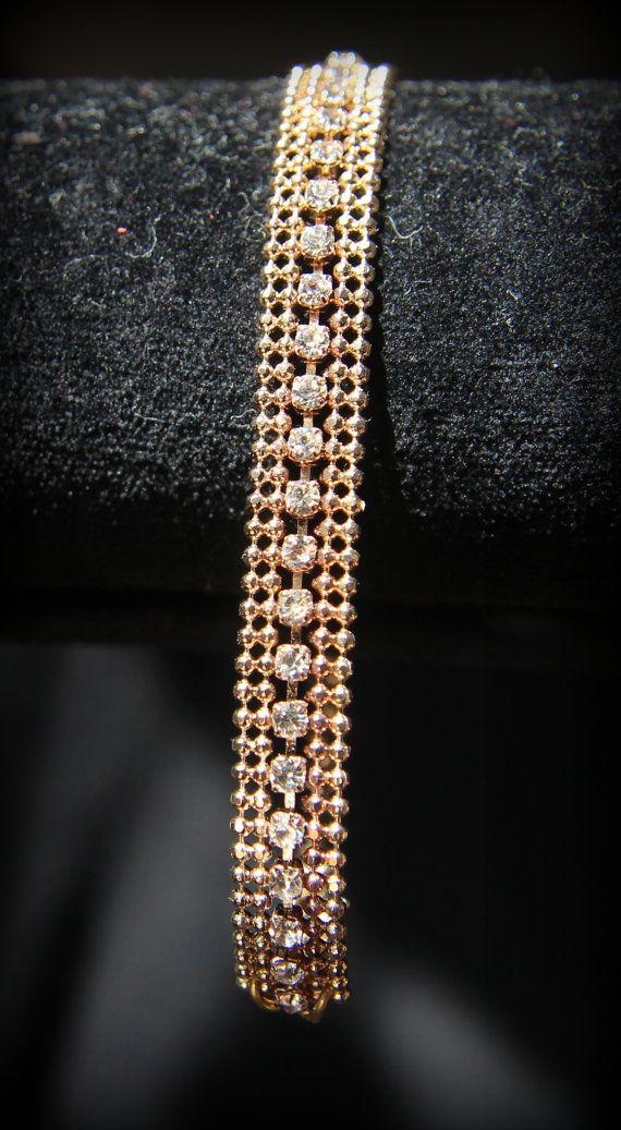 Rhinestone chain bracelet in gold tone color by LarisaBoutique: www.etsy.com/shop/LarisaBoutique