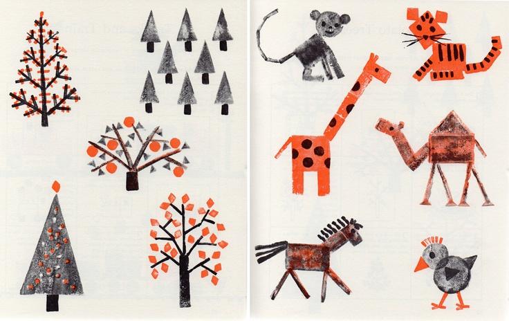 Potato printing; 1981.: Illustrations Drawstring, Illustrations Posts, Art Illustrations, Art Crafts, Potatoes Prints, Prints 1981, Art Artworks, Animal Toys, Artbook Sketchbooks