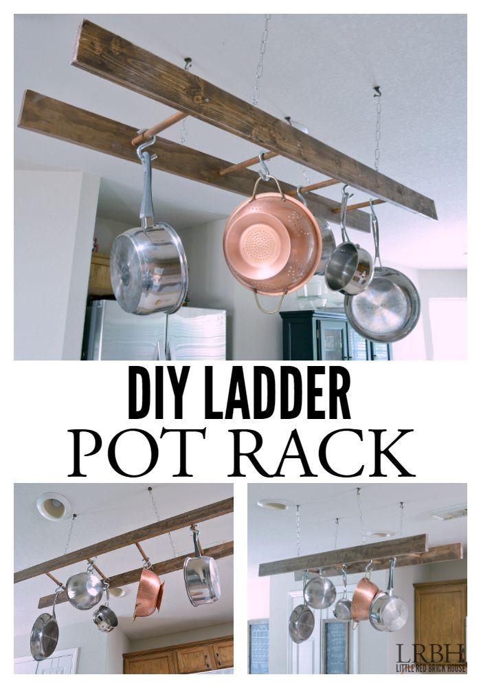 DIY Ladder Pot Rack   LITTLE RED BRICK HOUSE