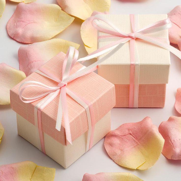 White Silk & Coral Pink Wedding Favour Boxes