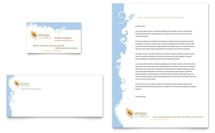 Christian Church Business Card And Letterhead Design Template By