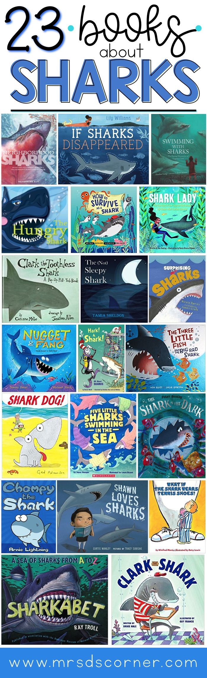 "23 Children's books about sharks. Informative, engaging, fun picture books about sharks for kids. Sharks are the biggest part of the ocean ecosystem, and sharks need our help. Sharks aren't the ""bad guys"" you see portrayed in the movie Jaws or the highly comedic Sharknado, and I am on a mission to change how my students view sharks... starting with these shark books. Blog post at Mrs. D's Corner."