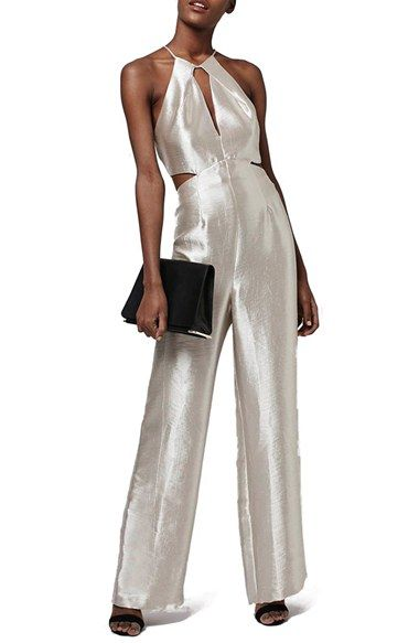 Free shipping and returns on Topshop Cutout Metallic Jumpsuit at Nordstrom.com. A silvery shimmer puts this wide-leg jumpsuit in a glam spotlight while the halter-style bodice amps up the allure with skin-baring cutouts at the front, back and sides.