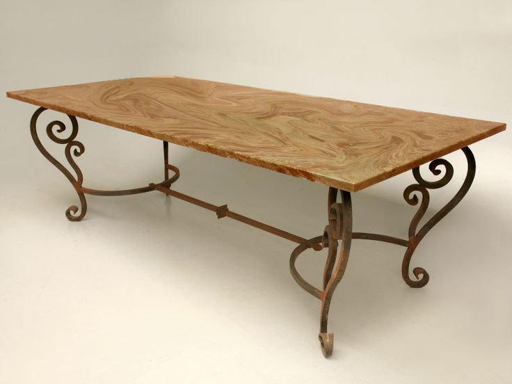 Hand Wrought Iron Table With Marble Top