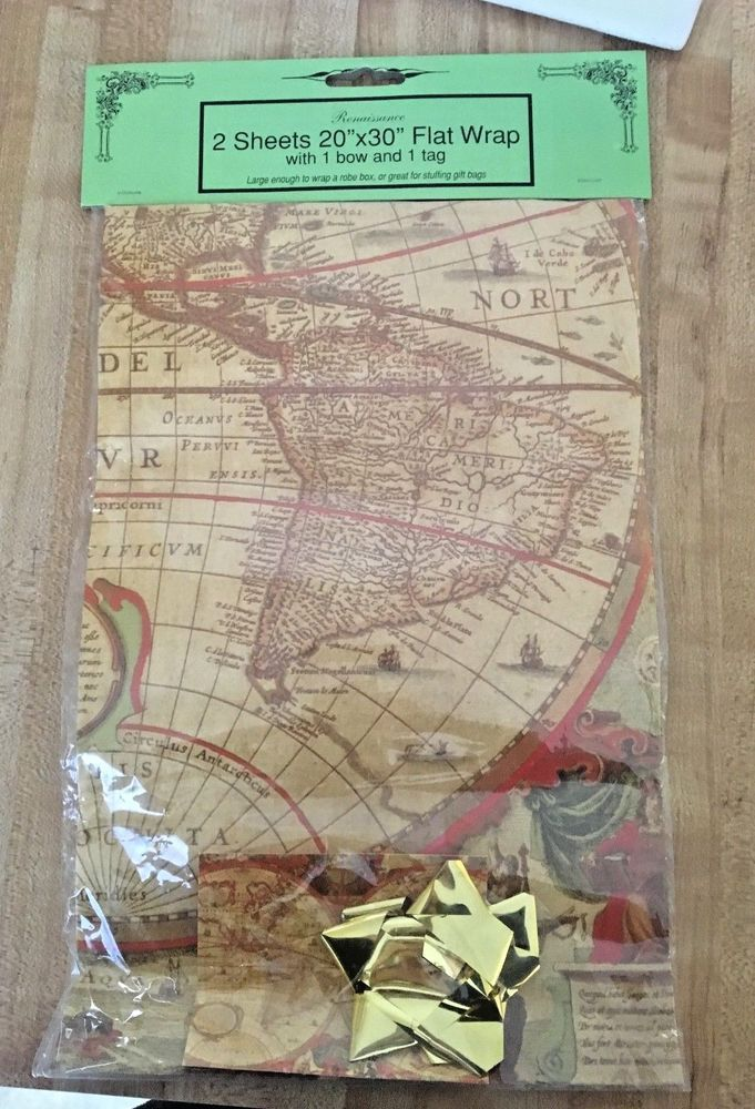 Mejores 96 imgenes de vintage craft supplies gift wrapping etc en vintage historical old world map globe 4 piece gift wrap complete set new gumiabroncs Choice Image