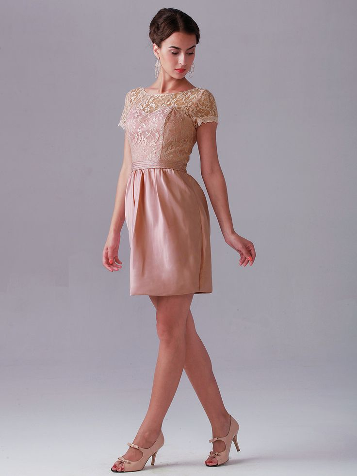 Lace Dress with Satin Skirt