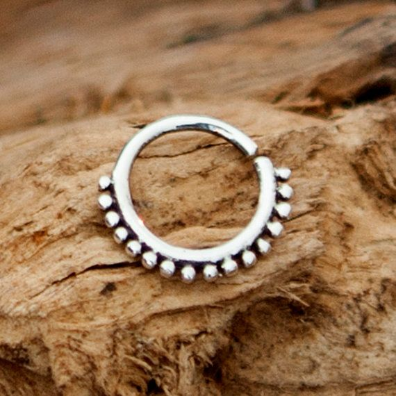 Silver Nose Ring  Silver Nose Hoop  Nose Jewelry  by RONIBIZA