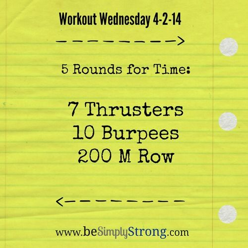 Workout Wednesday! Fast workout with thrusters, burpees, and rowing. WOD - can do at home with running instead of rowing