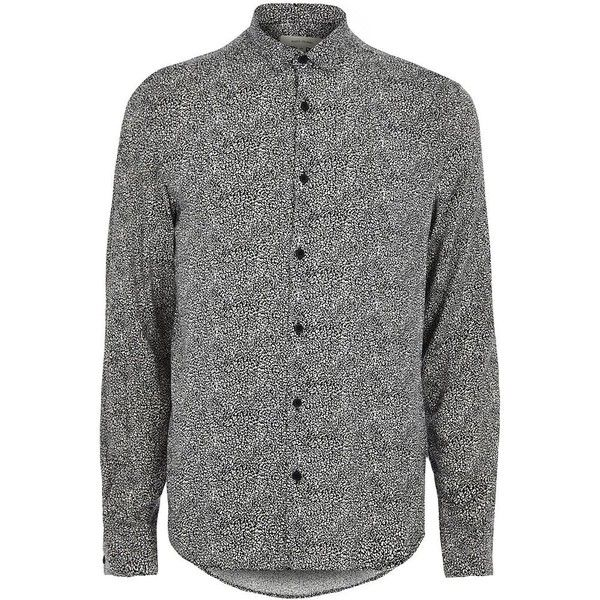 River Island Black and white animal print smart shirt ($34) ❤ liked on Polyvore featuring men's fashion, men's clothing, men's shirts, men's casual shirts, shirts, mens print shirts, mens black white striped shirt, mens longsleeve shirts, mens tall shirts and mens long sleeve shirts