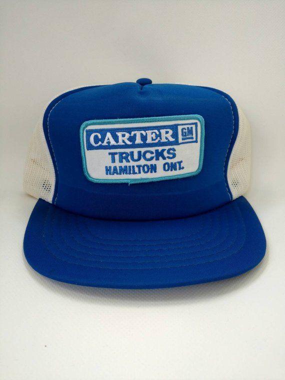 Carter Gm Trucks Hamilton Ontario Trucker Hat Mesh Snapback Cap Blue