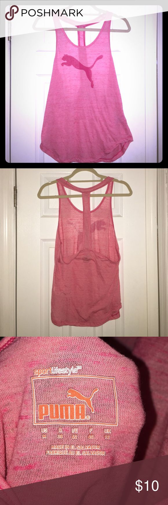 Puma Sport Lifestyle Workout Tank Racerback Pink Puma Sport Lifestyle Workout Tank Racerback Pink. Low back looks great with any sports bra. Worn only a few times. Check out our closet and make it a bundle - 2 items = 15% off! Everything must go no reasonable offer on ANY item (even high end) denied. Thanks for shopping 😁 Puma Tops Tank Tops