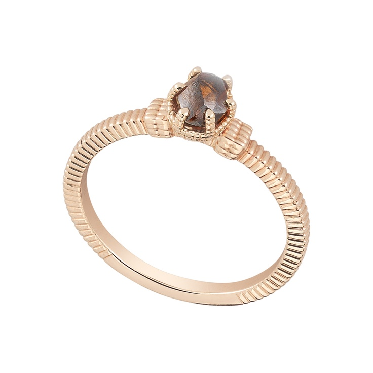 This chocolate rough diamond is best enhanced by rose gold.  #jewelry #fashion #weddings