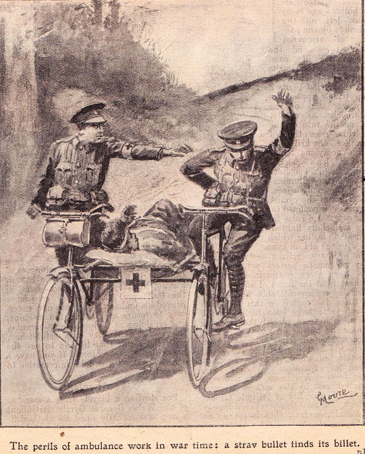"""WWI Royal Enfield Bicycle Ambulance; """"The perils of ambulance work in war time: a strav bullet finds its billet"""""""
