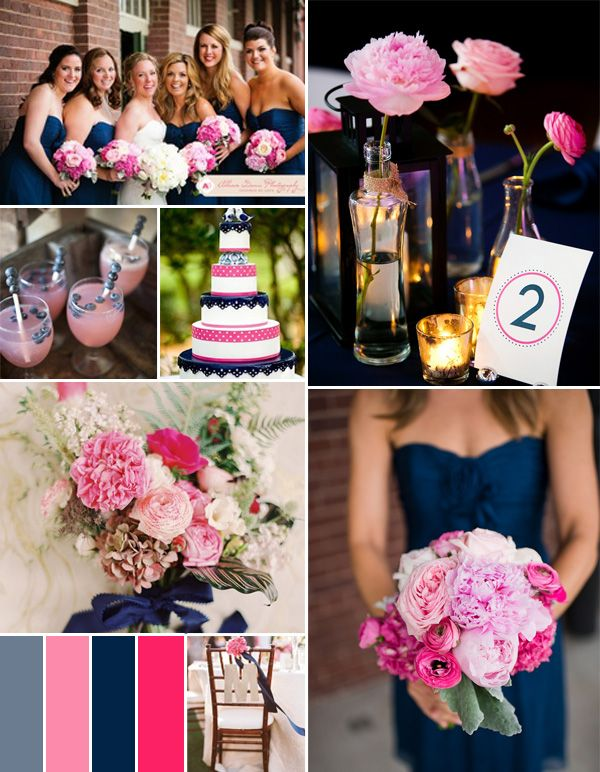 hot pink fuchsia and navy blue summer wedding color ideas #pinkweddingideas #weddingcolors #elegantweddinginvites