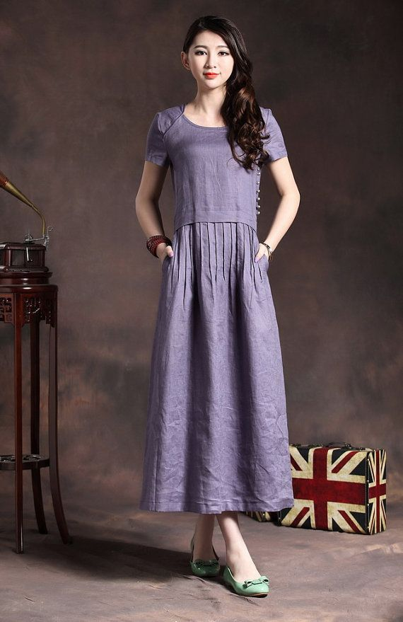 Long Linen Dress In Violet Pleated Floral By