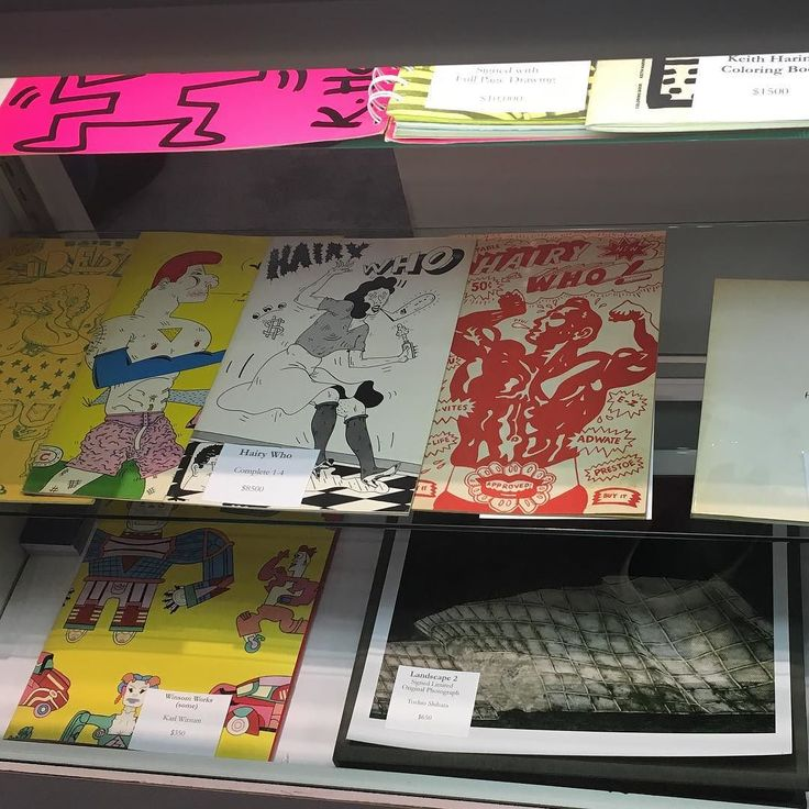 Keith Haring and Hairy Who / Chicago Imagists publications from the @jeffhirschbooks booth at the New York Antiquarian Book Fair. Amazing stuff!
