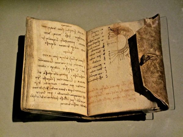 """""""once you have tasted the taste of sky, you will forever look up""""  ― Leonardo da Vinci (his notebook in photo)"""