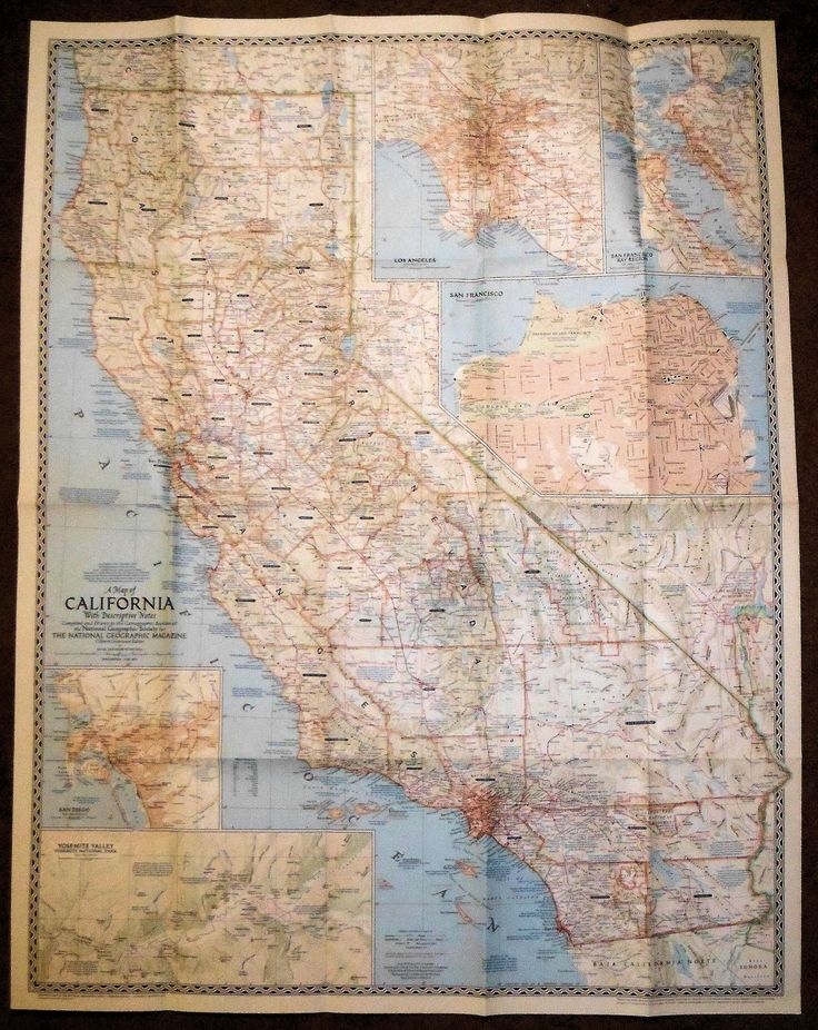 Nat Geographic California 1954 45 best MAPS