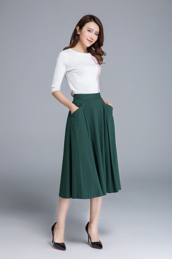 Light Green Skirt Women Skirt Layered Skirt Plus Size Skirt Knee Length Skirt Flared Skirt Bohemian Clothing Minimalist Skirt