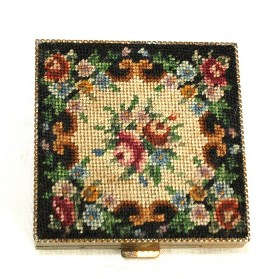 Vintage Schildkraut   Petit Point Compact   by GeneralWhimsy2 on Etsy