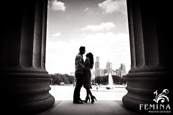 Black and white engagement photography; Philadelphia Art Museum Engagement Session