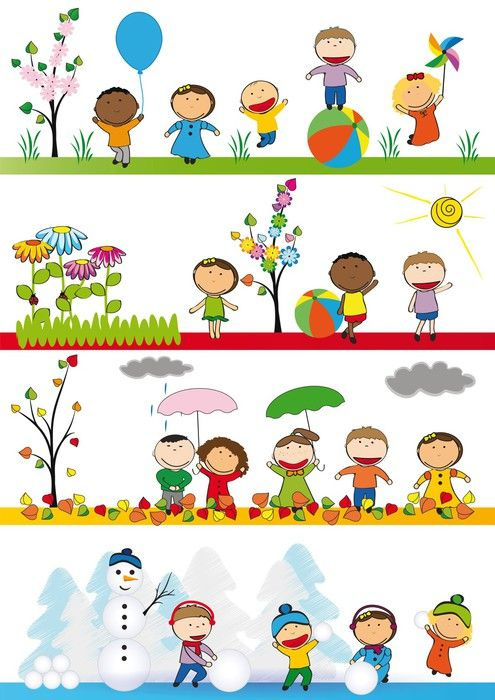 Vinyl Wall Mural Kids in four season ✓ Easy Installation ✓ 365 Day Money Back Guarantee ✓ Browse other patterns from this collection!