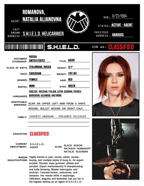 S.H.I.E.L.D profile- Natasha Romanoff - And more... made me laugh xD