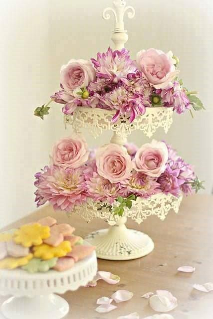 Pretty way to display flowers for a tea, luncheon, garden shower.