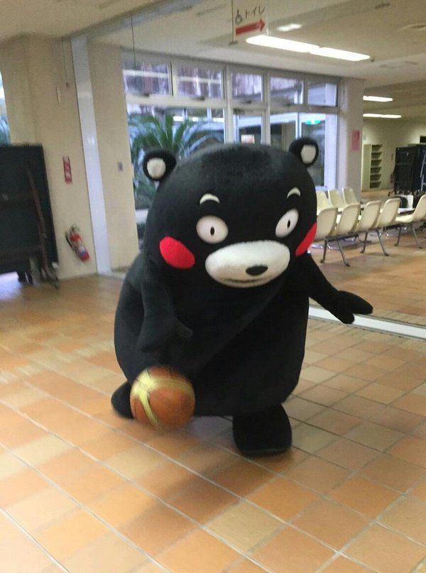 Kumamon playing basketball