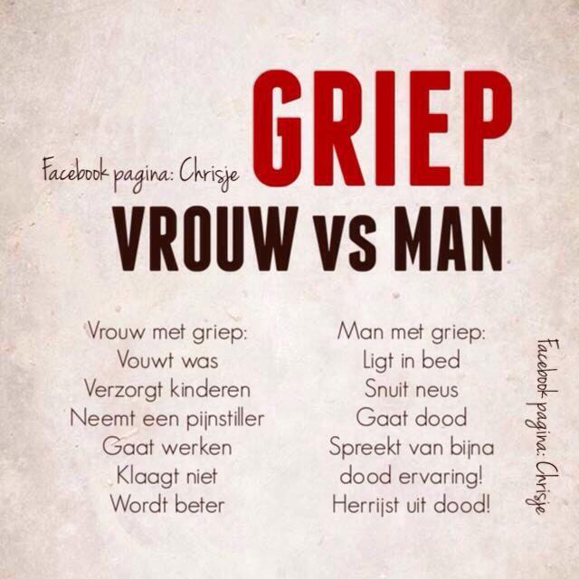 Griep vrouw vs man