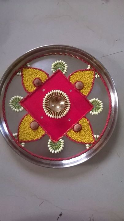 35 best images about festivals on pinterest peacocks for Aarti thali decoration pictures navratri
