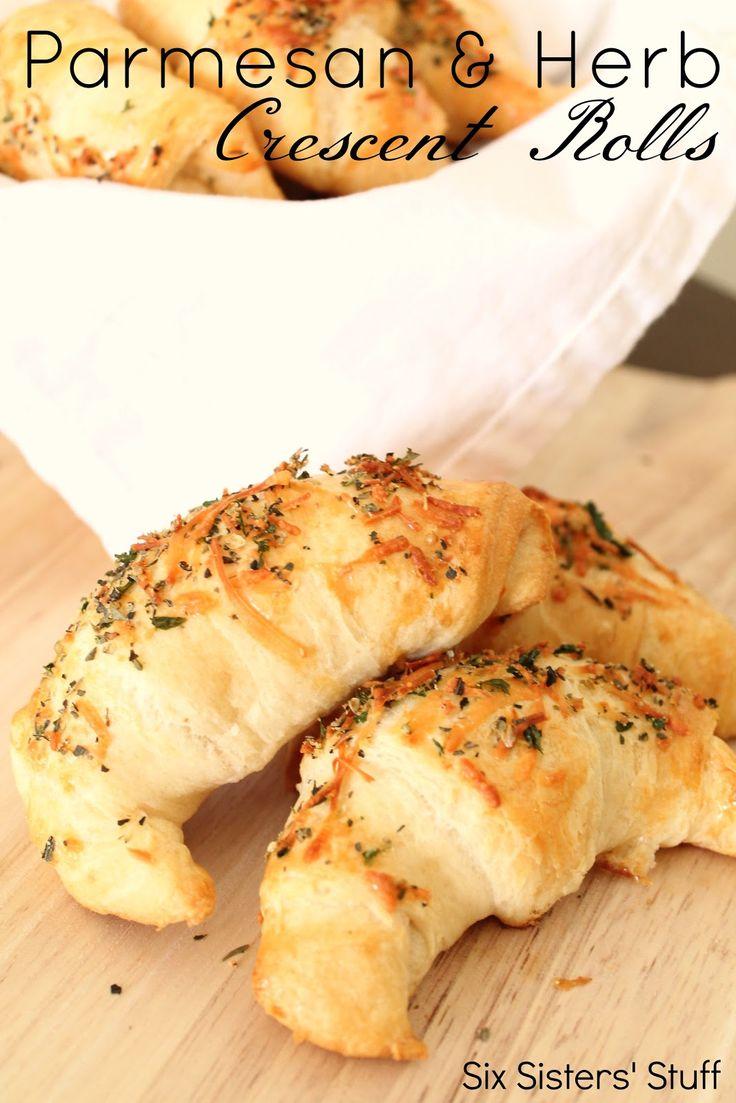 Six Sisters' Stuff: Parmesan and Herb Crescent Dinner Rolls Recipe