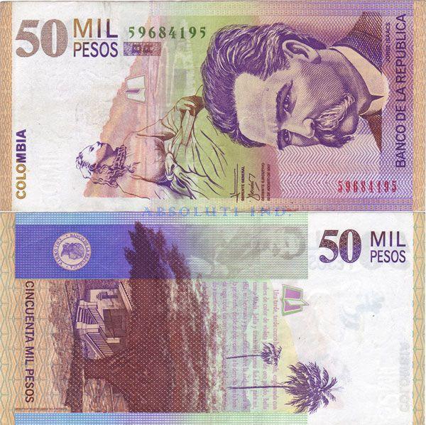 Afbeeldingsresultaat voor bankbiljetten colombia voor en achterkant