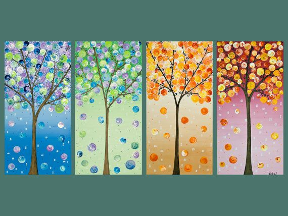 "48x24 Original Modern Abstract Landscape Heavy Texture Impasto Acrylic Painting ""Four Season Trees"" by QIQIGALLERY"