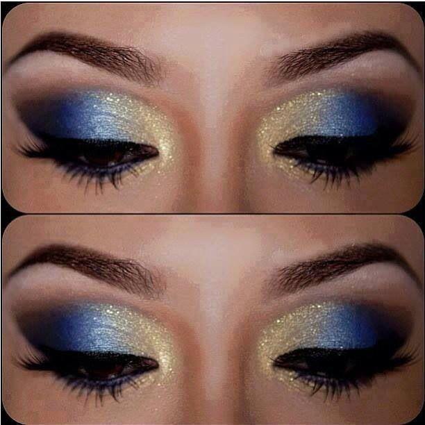 Inspiración maquillaje de ojos azul y dorado