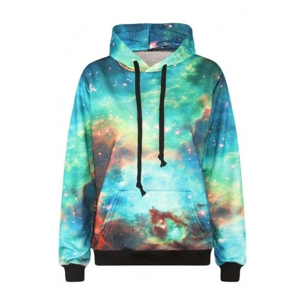 Green Galaxy Print Long Sleeve Sweatshirt ($23) ❤ liked on Polyvore featuring tops, hoodies, sweatshirts, sweatshirt hoodies, galaxy sweatshirt, long sleeve hoodie, hoodie sweatshirts and sweat shirts