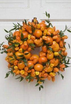 A wreath made of oranges