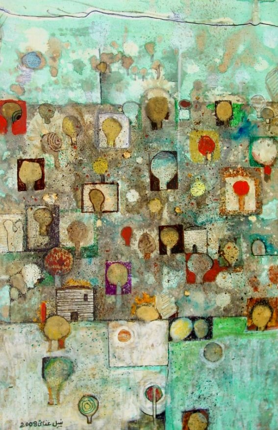 Olives and People, 2008-Nabil Anani (Palestinian Artist)