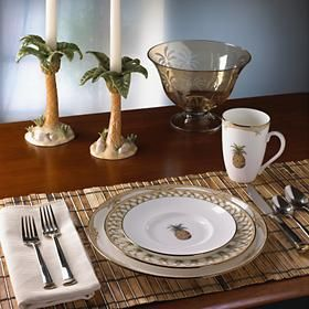 Tropical dinnerware is perfect for luau-style parties or a nautical decorated kitchen.  Get ideas for creating a tropical ambiance to enjoy every day.