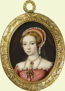 A Miniature of Elizabeth I as a Princess painted ca. 1546-7 - copy of a painting attributed to William Scrots at Windsor Castle, Royal Collection.