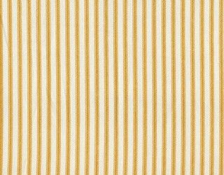 """A traditional ticking stripe in yellow on a cream background. Reinforced button holes for 12 curtain rings.Total Size is 75"""" wide x 72"""" long. Shower curtain"""