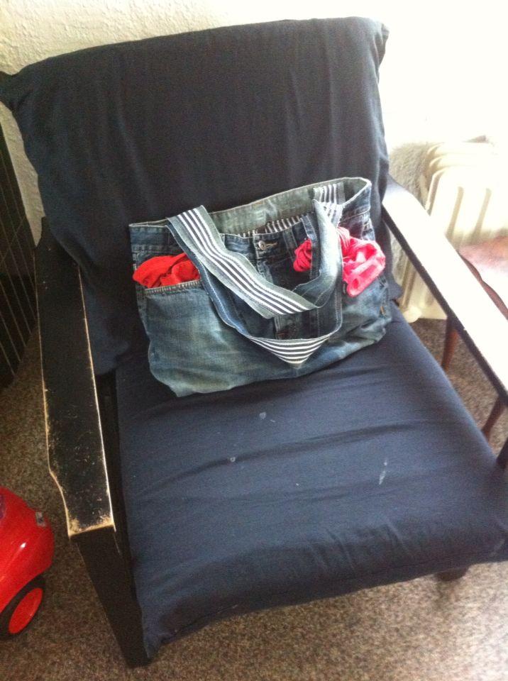 Tas van jeans en overhemd