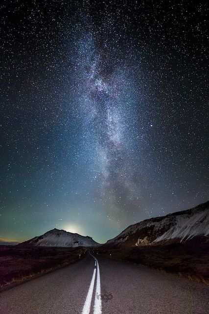 Milky Way over road, Iceland
