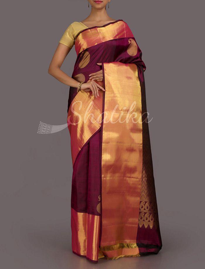 Netra Very Berry Paisleys Real Zari #DharmavaramSilkSaree